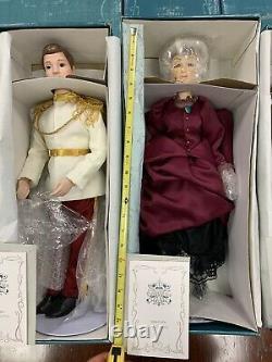 RARE NEW COMPLETE SET Cinderella Disney 19 etc Porcelain Dolls COA Vintage LE