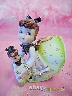 RARE VTG Lefton Pink Girl Angel w Look A Like Baby Doll & Tag Figurine EX