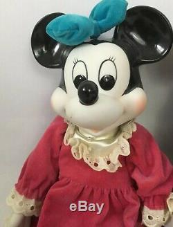RARE Vtg Walt DISNEY MICKEY & MINNIE MOUSE Porcelain Wind-Up Musical Doll Figure