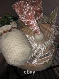 RARELarge Vintage Sitting Pink/White Santa Claus Doll Porcelain Face