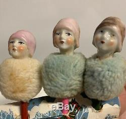 Rare 1930s Porcelain Flapper Girl Heads WithMuff Collars On Top Of Pencils