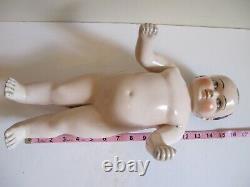Rare, Antique German Frozen Charlotte/charlie, 16, Pink Tint, Boy China Doll
