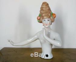 Rare Antique Porcelain Boudoir Half Doll Arms Away Straight Arm