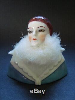 Rare Antique Powder Puff German Porcelain Half Doll Vanity Dresser Box