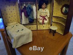 Rare Vintage Cracker Barrell Porcelain African American Doll Set in Wooden Box