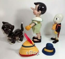 Rare Vintage Disney's Pinocchio, Figaro The Cat & Jiminy Cricket Porcelain Dolls