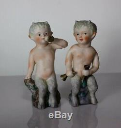 Rarely Seen Antique Pair Satyr Faun Pan Cherub Child Bisque Porcelain Figurines