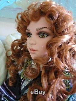Redhead Green Eyes Girl Porcelain 29 inch Collector's Doll Vintage 1998 212/500