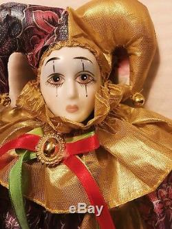SET OF FOUR Vintage Harlequin Doll Hand-Painted Porcelain Head & Hands Soft Body