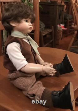 SFBJ 252 Paris Bisque Face 18 Boy Doll Real Seeley Body Brown Hair & Eyes Cute