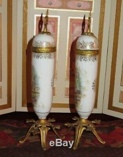 Sale! Magnificent Pair Of Antique French Miniature Sevres Style Porcelain Urns