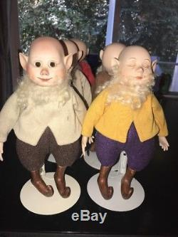 Snow White Dwarf Porcelain Doll Set 6 Vintage Dwarves RARE COLLECTIBLE