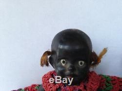 TWO Vintage Antique Black Americana 4 Bisque Porcelain Jointed Baby Dolls Japan