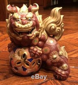 Two MARKED Vintage Japanese Mori Kutani Porcelain Dragon Lion Dogs-Made in Japan