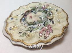 Unique Vintage Baby Doll Face Pin Brooch Porcelain Head Great Cz Stones Large