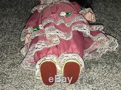 VICTORIAN PORCELAIN DOLL 11 Pink Dress With Roses & Lace BRUNETTE Bonnet VINTAGE