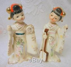 VINTAGE Japan Porcelain Ceramic ASIAN GEISHA Chinese Dolls Figurine Statue RARE