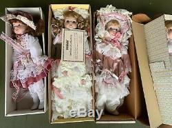 VINTAGE LOT of 7 PORCELAIN DOLLS SEYMOUR MANN In Boxes With Certificates