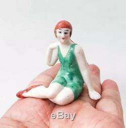 VTG Bathing Beauty Lady Figurine Half Doll Rel Bisque Porcelain Art Deco Germany
