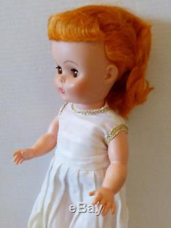 VTG D&C Dee Cee 15.5 Doll white Long dress Brown Eyes Red hair shoes socks