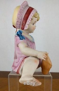 VTG Hand Painted Piano Baby Figure Girl Bisque Porcelain Hat Sock Doll Baby Pink
