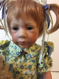 VTG. Handmade porcelain 20 doll one of a kind Easter theme yellow & blue dress