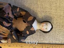 Very Rare 7.25 Early Ca 1860-70 China Doll With Unusual Hairstyle Orignal Dress