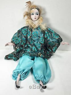 Vintage 18 Porcelain Bisque Harlequin Doll In Blue Outfit c. 80's