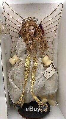 Vintage 18 inch Franklin mint porcelain Doll white/gold angel with Stand -NIB