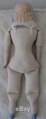 Vintage 1944 Emma Clear Blue Parian Scarf Doll, Cloth Body