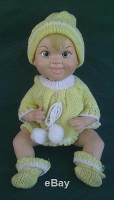 Vintage 1966 Maggie Head Bisque Porcelain 10.5 Jointed Baby Doll + Clothes