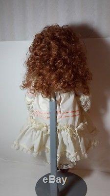 Vintage 20 Porcelain Bisque Googly Eyed Doll Signed Maria Schrock 1985