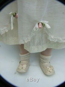 Vintage 24'' Tall Gorgeous Blond Porcelain Bisque Doll White Dress