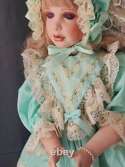 Vintage 24 inch Collectible Porcelain Doll Blonde hair Violet Eyes posable TEETH