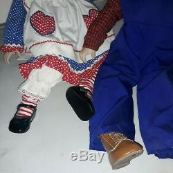 Vintage 2ft Raggedy Ann & Andy Porcelain Dolls by Kelly RuBert with Original Boxes