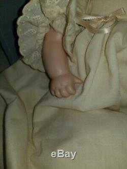 Vintage 3 Faces of Eve Porcelain Doll Happy Sad Sleeping Wooden Cradle Linens