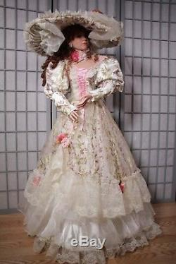 Vintage 42 Rustie Cassandra Porcelain Doll White pink Victorian LIMITED 500