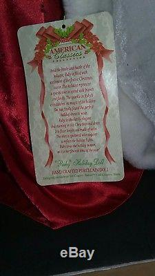 Vintage American Classic Xmas Col Handcrafted Porcelain Doll Cracker Barrel 24