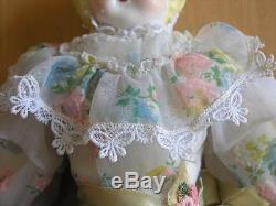 Vintage Antique Ceramic Porcelain Head Hands Feet Doll Leather Body Silk Dress