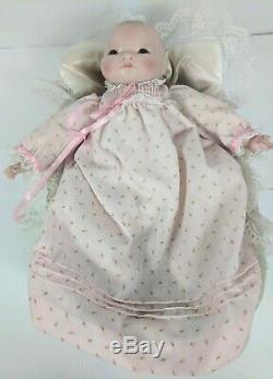 Vintage Bisque 1923 Grace S Putnam porcelain baby doll with bassinet