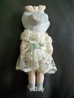 Vintage Bisque Porcelain Baby Doll Jointed Arms Moulded Bonnet Head 5.5 Bsco