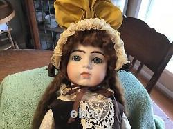 Vintage Bru Jne 13 Doll 25 Brown MoHair Blue Eyes Dimple Chin Reproduction