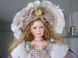 Vintage CATHAY Collection 1-5000 Porcelain Doll With Parasol (38 inches H)