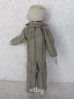 Vintage Cloth Covered Boy in Coat Porcelain Doll Toy