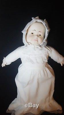 Vintage Collectible 3 Face Happy/Sleepy/Cry Rotating Bisque Porcelain Doll