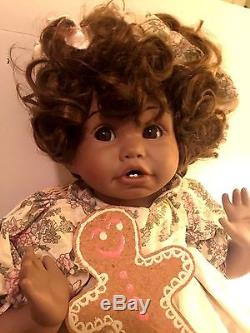 Vintage Designer African American Porcelain Collectible Baby Doll COA