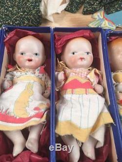Vintage Dionne Quintuplets Sewing Play Game Set With Porcelain Dolls