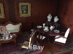 Vintage Doll House Furniture Over 100 Pcs. Metal, Wood, Fabric, Porcelain