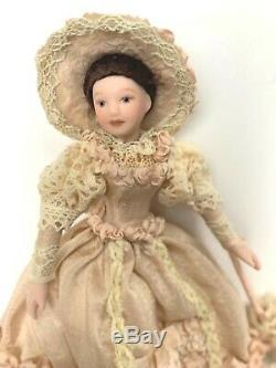 Vintage Dollhouse Miniature Lady Victorian Handcrafted Porcelain Doll 112 Ooak