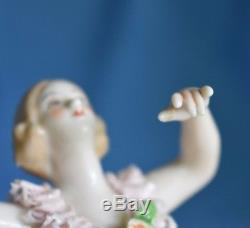 Vintage Dresden Lace Blonde Ballerina Dancer Figure Germany Half Doll Related